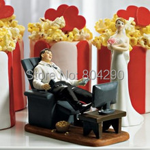 "Free Shipping ""Couch Potato"" Couple Figurines Wedding Resin Cake Topper"