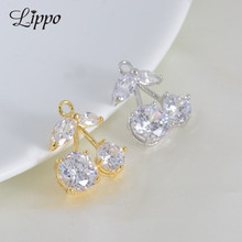 10pcs golden plated fruit  Charm Cherry Cubic Zirconia Ear Pendant Earring Findings