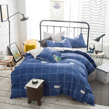 "Blue and white plaid 100% cotton 4PCS bedding sets /78""x90"" 1pc duvet cover+1pc flat sheet +2pcs pillowcase set(China)"