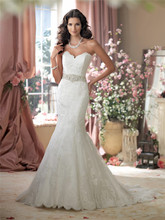 Sweetheart Neckline Intricately Hand-beaded Jeweled Belt Mermaid Wedding Dresses 114274 Bridal Dress vestidos de novia