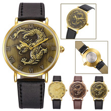 2016NORTH Hot Chinese Dragon Pattern Mens Leather Black Band Analog Sports Quartz Watches Wrist Watch famous design reloj hombre