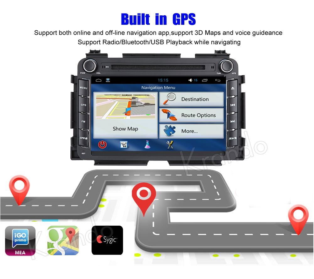 Krando honda vezel HR-V 2013+ android car radio gps navigation system multimedia player (5)