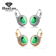 18 Color Crystal Earrings for Women oro blanco aretes pendientes Jewelry Multicolor Austria Crystal Dangle Drop Earrings