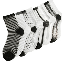 2 Pairs/lot Women's Socks Comfortable Sheer Silk Summer Ankle Transparent Crystal Lace Black White Ladies Socks Calcetines Girl(China)