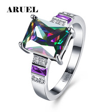 ARUEL Valentine's Day Gifts Women White Gold Color Party Rainbow Rings Cubic Zircon Stone Jewelry Purple Finger Rings Ringen
