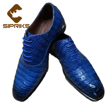 SIPRIKS Mens Bespoke Goodyear Shoes Italian Mens Alligator Skin Leather Shoes Elegant Blue Tuxedo Shoes Unique Crocodile Shoes