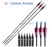 "EMS shipping Compound&Recurve bow arrow 31"" 400 spine pure carbon arrow 24pcs/lot fast shipping(China)"