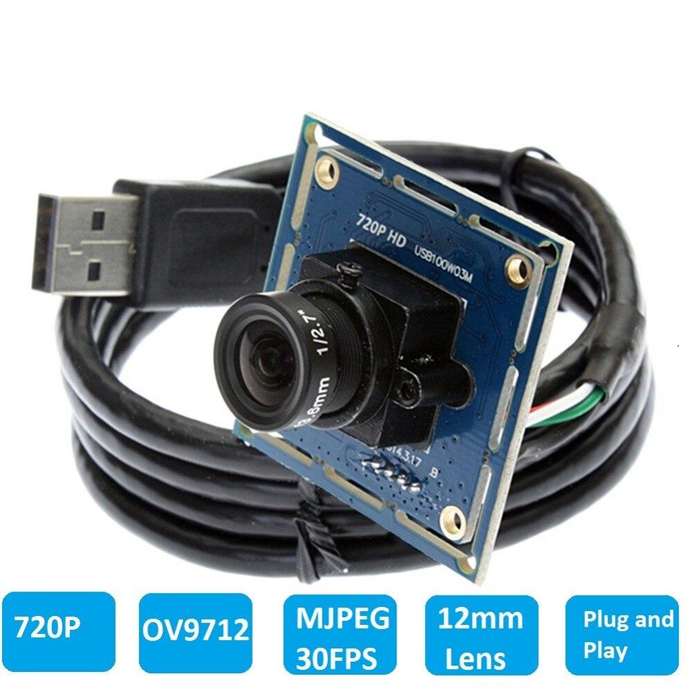 ELP OV9712 Sensor 1.0Megapixel12mm lens HD CMOS Mini Camera Board USB Webcam HD Android Module Camera USB 2.0 ELP-USB100W03M-L12<br>