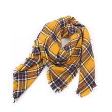 2017 Brand Scarfs Square Yellow Plaid Warm in Winter Acrylic Fashion Tassel Shawls For Women 140x140 free shipping(China)