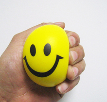 hot selling pu foam material yellow smile face anti stress ball,pu smiley face ball,12pcs/lot, 6.3cm diameter free shipping(China)