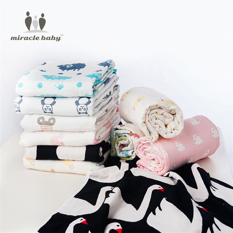 MIRACLE BABY  Cozy 6-Layer Pure Cotton Gauze Bath Towel Baby Muslin Blanket for Newborns Gift Set<br>