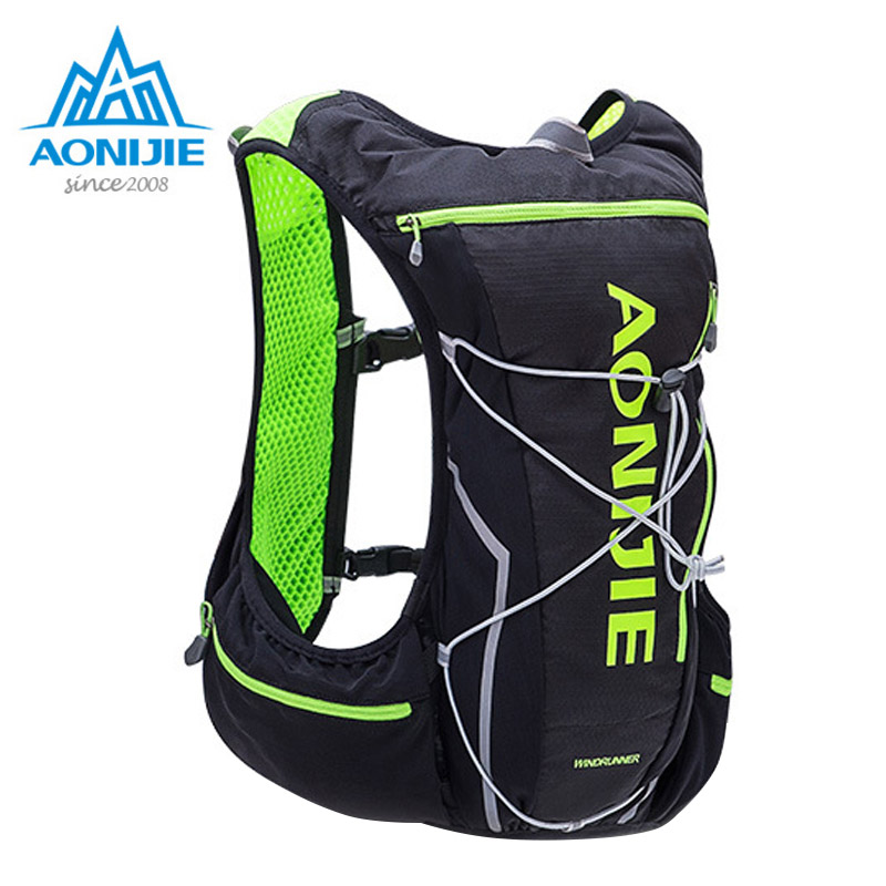 2017 AONIJIE Men Women Nylon 10L Outdoor Bags Hiking Backpack Vest Professional Marathon Running Cycling Backpack Bag E904S<br>