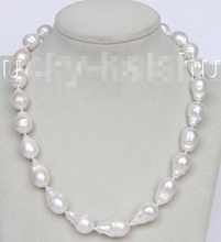 "shipping natural 18"" 22mm baroque white Reborn keshi pearls necklace 14KGP clasp j10405"