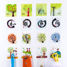 2016 Cartoon Tree Print Kawaii Washable Decorative Robe hooks Adhesive Hooks Bathroom Kitchen Accessories Bath Hooks Creative