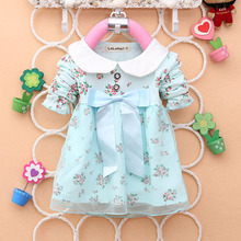 spring summer long sleeve bow knot flower dresses girls cute cotton dress baby girl dresses(China)