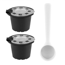 LemonBest 2pcs Silver Refillable Reusable Coffee Capsule Filter Compatible with Nespresso (with Coffee Spoon)(China)