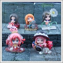 5Pcs/set nami robin  Hankokku Shirahoshi model one piece pvc action figure classic collection doll toy