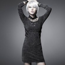 Steampunk Vintage England Street Rock Knitted Dress Black Long Sleeve Do Old Wash Style Casual O-Neck Short Dress(China)