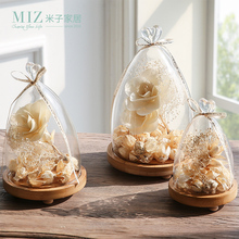 Miz Home 1 Piece Transparent Landscape Small Vase for Home Office Desktop Creative Vase Glass Cover BJ090015