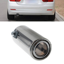 1Pc Universal Stainless Steel Car Rear Round Exhaust Pipe Tail Throat Muffler Tip