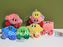 New Arrival 6 Styles 2.4inch Super Mario Bros kirby Stuffed Plush Keychain Strap Pendent 1 set 6pcs