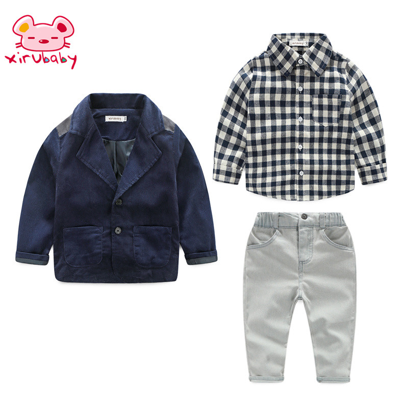 Xirubaby Fashion children baby winter clothing for 3 pcs boy clothes coat+ lattice shirts+jeans pant sets kids gentleman suits  <br>
