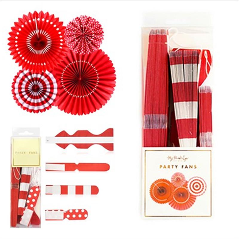 4 Paper Fan-red