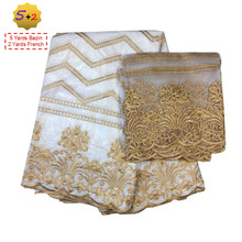 2017 African bazin riche getzner Lace Fabric white guinea Embroidery 2yards mesh tulle net lace material scarf set white shawl