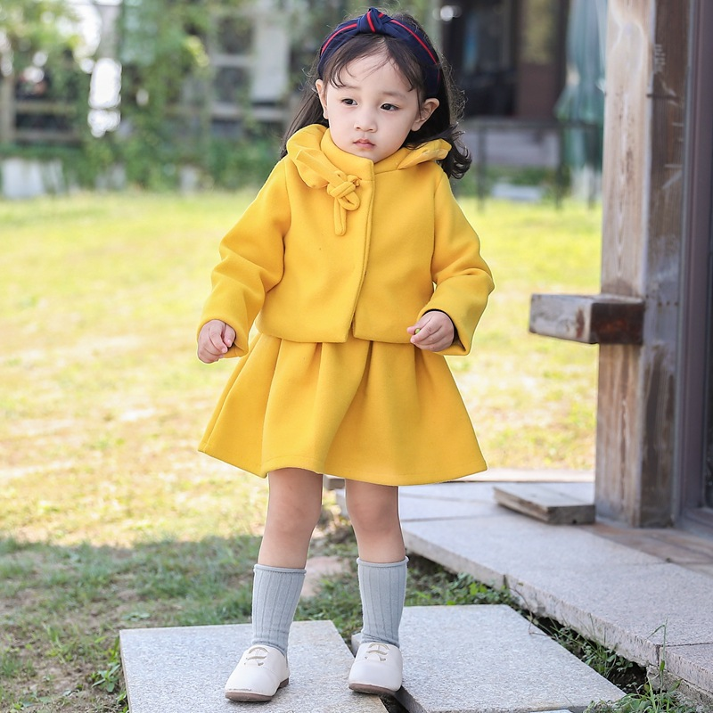 2Pcs 24M-6T Childrens Clothing Sets Coats+ Dress Fashion Solid Color Cotton Baby Girl Dress Sets Winter For Girl Clothes V20<br>