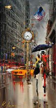 Hand Painted oil Painting lovers under umbrella on new york city couple oil painting for Living room Wall Art Modern Picture