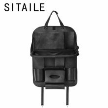 SITAILE Leather Car Seat Back Foldable Car Dining Table Touch Screen Tablet Holder Bottle Holder Multi-Pocket Travel Storage Bag