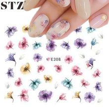 STZ 1 PCS Hot Designs 3d Colors Purple Beautiful Flower Sticker Nail Art Sticker Nail Foils for DIY Manicure Decorations E308