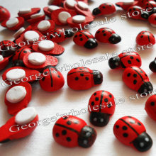 1000PCS/LOT,Mini wood ladybug stickers,3D stickers,Spring crafts,Easter decoration,Home decoration,Kids room ornament 13x9mm(China)
