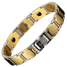 FDA 100 Noproblem gold and silver tourmaline strength magnets energy power infinity fashion charm men scalar energy bracelet
