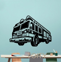Fire Truck Wall Decal Engine Fireman Firefighter Vinyl Sticker Home Boy Room Interior Art Decoration Creative Art Mural