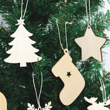 10pc Wooden Christmas Tree Decorations Socks Ornaments Dec Christmas Decorations for Home 2017 Snowflake Snowman Star Pendant(China)
