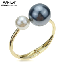 MANILAI Fashion Charm Bracelets For Women Accessories Imitation Pearl Cuff Bangles Statement Jewelry Wholesale Gift pulseiras(China)