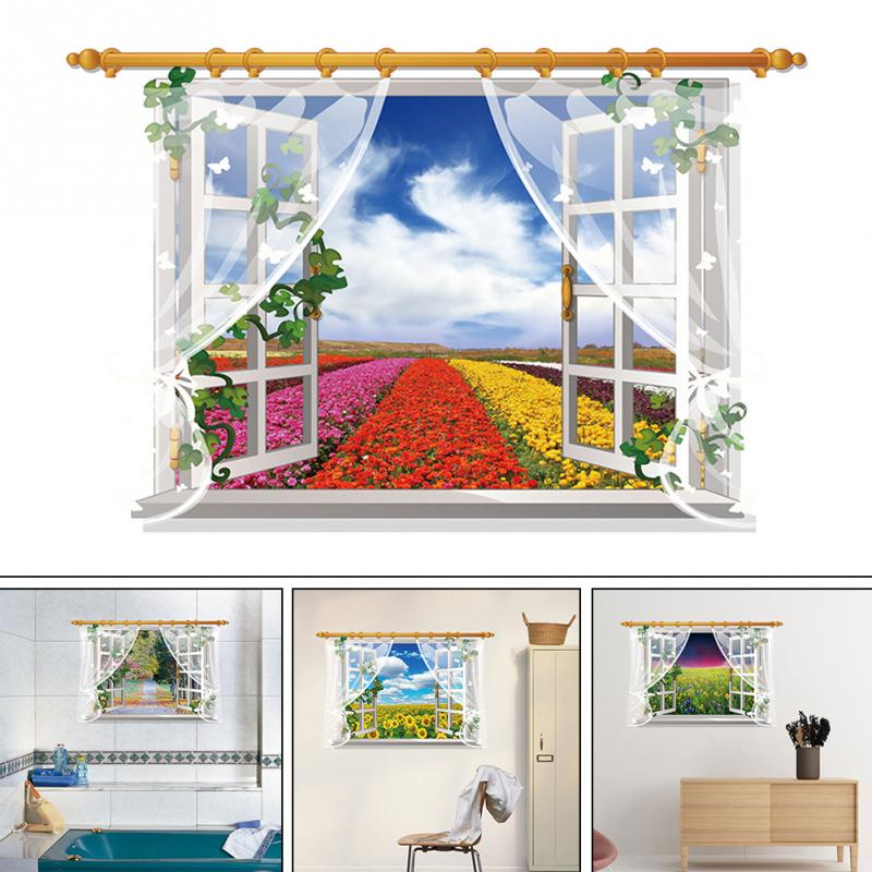 HTB1pF9uhqSWBuNjSsrbxh50mVXaG - 3D Window View Nature Landscape Wall Sticker  For Living Room