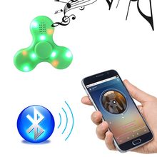 2017 New Arrive Protable Mini LED Bluetooth Speaker Music Fidget Hand Spinner Loudspeakers Pink Blue Green White Colors(China)