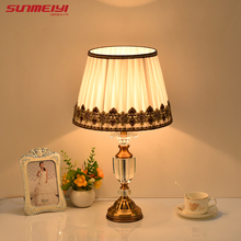 Luxary classic American bedroom table light foyer European crystal table lamp glass tall table light bedside hotel table lamp(China)