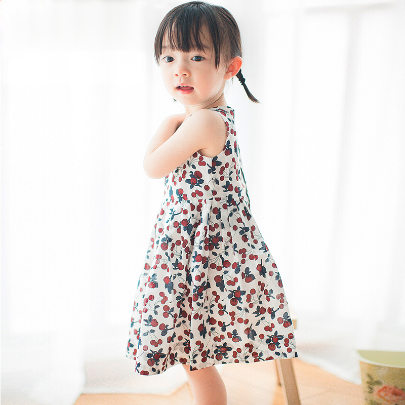 brand girl short print  A-Line dress 2017 summer<br>