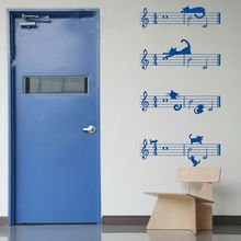 Lovely cartoon cat and Staff note combination Musical Wall Stickers music bedroom decor vinyl wall decals-You choose color(China)
