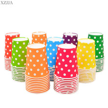 20pcs/set Multicolor Round Dots Paper Cup Disposable Tableware For Kids Birthday Party Wedding Food Grade Party Supplies
