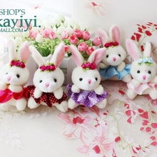 10pcs/lot Cute plush toy bunny pendant jewelry cute phone chain car key creative birthday gift woman(China)