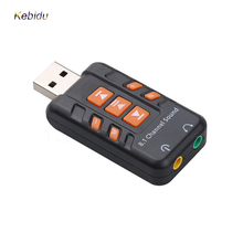 Kebidu USB Sound Card 8.1 Channel Virtual CH 3D Audio Adapter Amplifier ABS Plastic Black Sound Cards for PC Computer Components(China)
