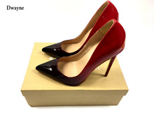 2017 brand Woman High Heels Wedding Shoes Black/Red Patent Leather Women Pumps Pointed Toe Sexy High Heels Shoes Stilettos