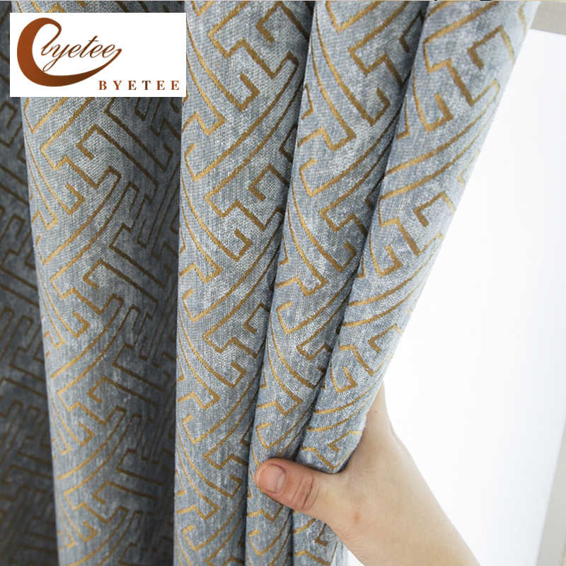 [byetee] Modern Window Curtain Fabrics Jacquard Curtains Blackout Luxury Curtains Doors For Kitchen Bedroom Living Room Drapes