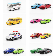 1:64 Alloy car model SUV school bus Sports car police car Pull Back Open the door Children's toys ornaments