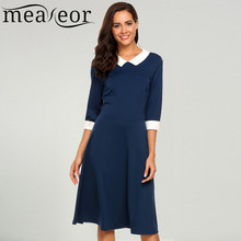 Meaneor Women's Dress Vintage Style Peter Pan Collar 3/4 Sleeve Party Swing Elegant Sexy Slim Dress 2017 New Autumn Fashion(China)