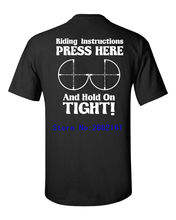 2017 New Brand Riding Instructions PRESS HERE and Hold on TIGHT Motorcycle Men's Tee Shirt 912